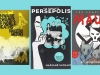 The covers to Shigeru Mizuki's Onwards Towards our Noble Deaths, Art Spiegelman's The Complete Maus, and Marjane Satrapi's The Complete Persepolis