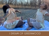 A photograph of two young women, sitting cross-legged on a blue blanket, with their arms outstretched. The text below reads: I Dream of Greenwood