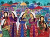 A colorful mural of faceless female figures in traditional Palestinian dress