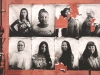A series of women's photographs against a rust red background