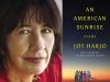 A photo of Joy Harjo juxtaposed with the cover to her book An American Sunrise
