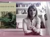 The cover to Carne de mi carne: Antología de cuento overlaid on a photo of editor María Negroni