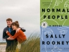 A photograph of two young people laughing and embracing juxtaposed against the cover to Sally Rooney's Normal People