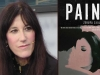 A photo of author Zeruya Shalev juxtaposed against the cover to her book Pain