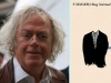 Author Dag Solstad juxtaposed with the cover to his book 'T Singer'
