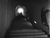 A grainy black and white photo of a stairway inside of a castle. Figures up the stairs, some distance away, are emerging into the light outside