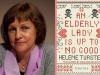 A photograph of Helene Tursten juxtaposed with the cover of her book An Elderly Lady Is Up to No Good
