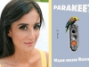 A photo of Marie-Helene Bertino juxtaposed with the cover to her book, Parakeet