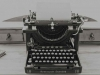 A black and white photo of a typewriter