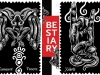 "Two surreal illustrations, rendered in white on a black background with the word ""Bestiary"" in white on a red background in the center"