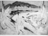 An abstract painting of a river in shades of gray