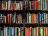 Colorful books on a bookshelf