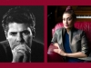 Photos of Ahmad Shamlou and Niloufar Talebi juxtaposed on a crimson background