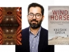 A photograph of Kaushik Barua bookended by the covers to his books Wind Horse and No Direction Rome