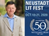 A photograph of author David Bellos juxtaposed with a logo for the Neustadt Lit Fest