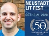 A photograph of NSK juror Adib Khorram juxtaposed with the logo of the 2020 Neustadt Lit Fest