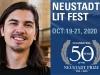 A photograph of NSK Juror Randy Ribay juxtaposed against the logo for the 2020 Neustadt Lit Fest