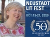 A photograph of NSK Juror Cynthia Weill juxtaposed with the logo for the Neustadt Lit Fest