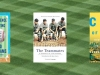 The cover to three books from list below with the texture of baseball field in the background