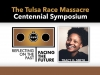 """Text reads """"The Tulsa Race Massacre Symposium. Reflecting on the Past. Facing the Future."""" There is a photograph of the keynote speaker, Tracy K. Smith, who is identified."""