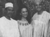 A grainy black and white photograph of Nuruddin Farah with his wife, Dr. Amina Mama, and Kwame Anthony Appiah