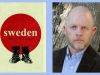 The cover to Matthew Turner's book Sweden with a photo of Turner juxtaposed