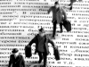 Lost in Translation illustration of figures walking on Russian text.