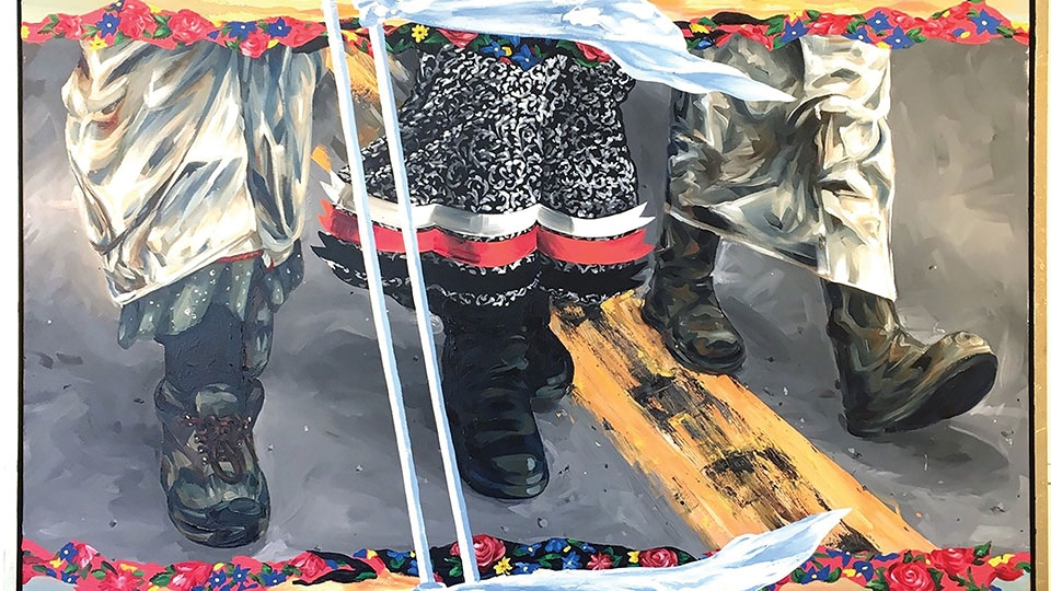 A painting of three sets of legs with white flags tied to both ends of a walking stick