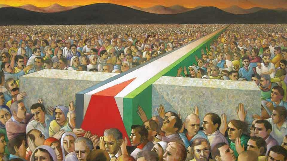 A painting showing thousands of people carrying a giant cross flat across the top of the throng, the flag of Palestine painted on the vertical beam of the cross