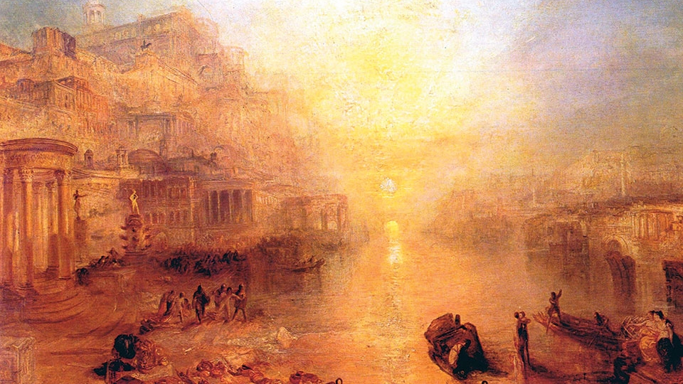 A painting saturated in orange and yellow tones showing boats on the Tiber with the city of Rome in the background