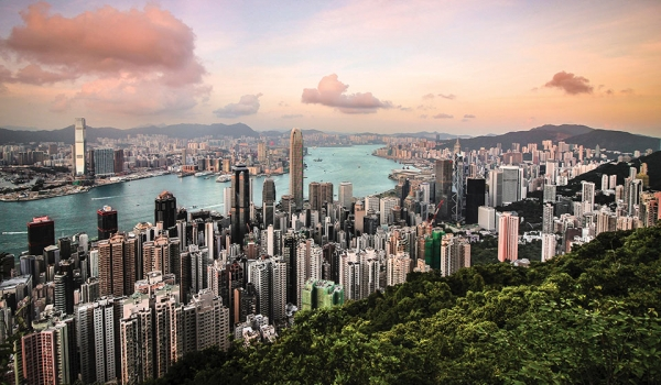 A panoramic shot of Hong Kong