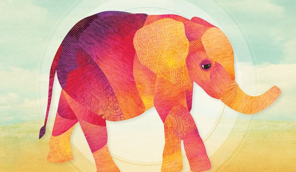 A watercolor illustration of an elephant, dominated by red and orange hues