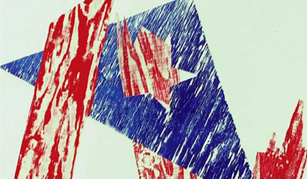 A woodcut print of jagged red and blue triangular figures