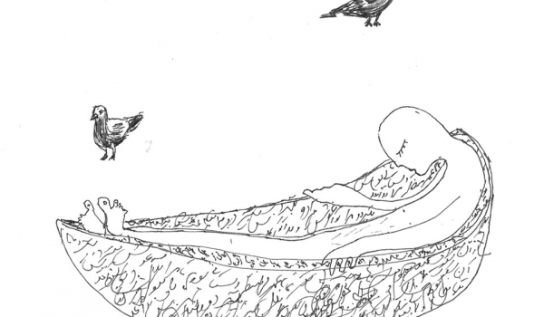 A line drawing of a person in a hammock with birds nearby