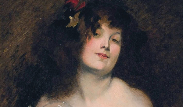 An oil painting of a woman, who looks directly at the viewer