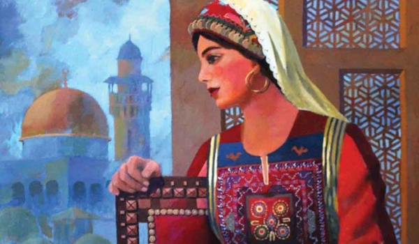 A painting of a woman in traditional historical dress sitting in a chair with Jerusalem visible outside of her window