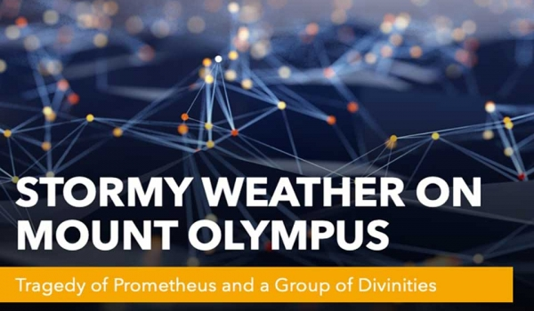 A slide reading Stormy Weather on Mount Olympus with the subtitle The Tragedy of Prometheus and a Group of Divinities
