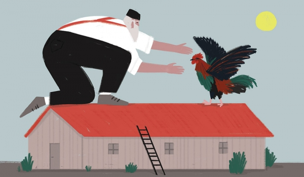 An illustration of a very large man grabbing a very large chicken, both standing atop a house