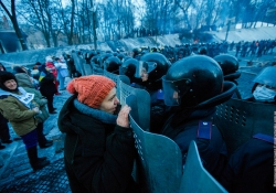 Barricade with the protesters at Hrushevskogo street on January 26, 2014