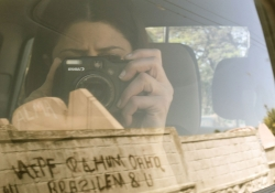Nathalie Handal with her camera.