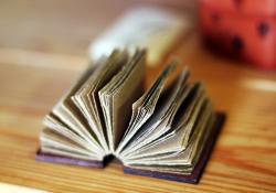 Book folded open