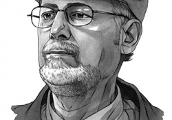Roberto Fernández Retamar in 2015, illustration by Michael Hoeweler