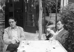 Ghassan Zaqtan (left) and Mahmoud Darwish in a 2007 photo taken by Palestinian poet Bashir Shalash.