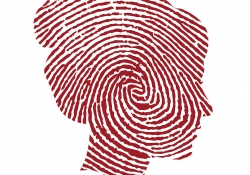 Thumbprint silhouette of a woman's face