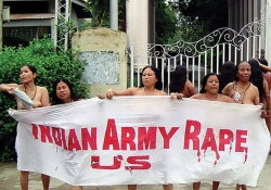 A group of women stripped naked in broad daylight to protest against the brutality of the Assam Rifles army contingent (July 2004).