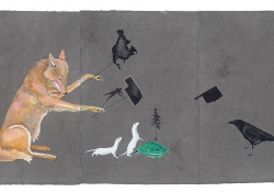 Julie Buffalohead (Ponca), The Trail (2015), acrylic, ink, graphite on Lokta paper, ca. 30 x 60 in / By permission of the Bockley Gallery, Minneapolis (bockleygallery.com)