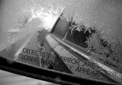 Ice crystals on a car mirror