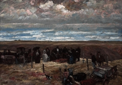 A moody oil painting of a funeral taking place on a grassland with multiple figures in black that almost blend into the landscape around them.