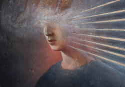 Agostino Arrivabene (b. 1967, Italy), Androgynous, 2016, oil, gold leaf on linen, 50x40cm. Courtesy of the artist.