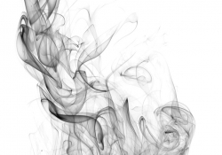 Smoke drifting up into the air. black and white
